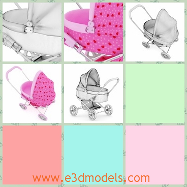 3d model of a buggy - This 3d model is about a cute buggy for babies. This buggy is made of pink cloth and iron and it has four small wheels.