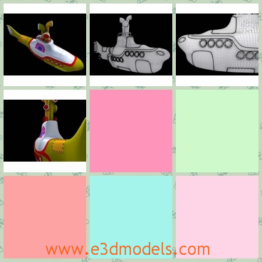 3d model of yellow submarine - This 3d model is about a yellow submarine which is very long and has a thin tail and it is very cute.
