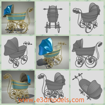 3d model the baby pram in fine decorations - This is a 3d model of the babby pram,which is made in fine decorations and the color is pretty.The pram has the wheels with it.