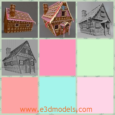 3d model the house with a roof - This is a 3d model of the house with a roof,which is covered with candies and the shape is so cute.