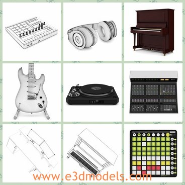 3d model the music collection - THis is a 3d model of the music collection,which contains the keyboard,the headphone,the guitar,the studio equipment and the instruments.