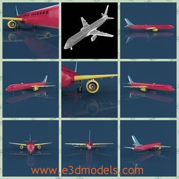 3d model a plane of Boeing 757 - This is a 3d model of a plane of Boeing 757,which is colored red.The model is designed in practical purpose.