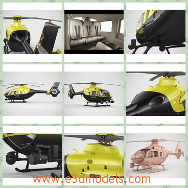 3d model a police helicopter - This is a 3d model about a helicopter that used by realistic ways.The yellow color is outstanding in the sky.
