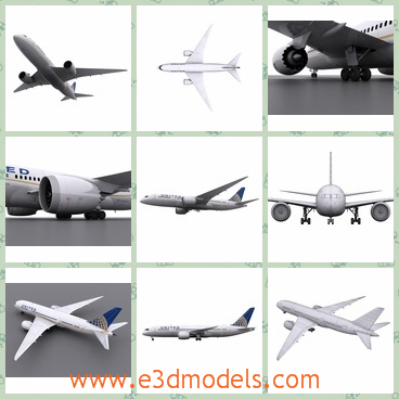 3d model an aircraft in white - This is a 3d model of an aircraft in white and in United color scheme.Models main parts include the main body, doors, turbines, rudder, fairings, flaps, windows and landing gear.