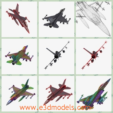3d model of a F 16 airplane - This 3d model of F 16  airplane has 2 objects, the engine at the end, and the main plane body. Both objects have separate textures. The textures for the engine are 1024x1024 and the plane textures are 4096x4096.