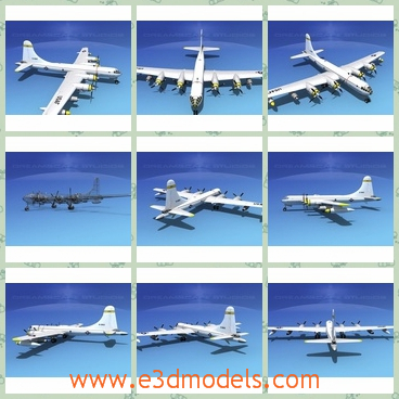 3d model of dreamscape KB 50 superfortress - This 3d model is about a white military plane which has long wings. This model is built very near to scale, and it is fully textured and comes with all materials and textures as shown.