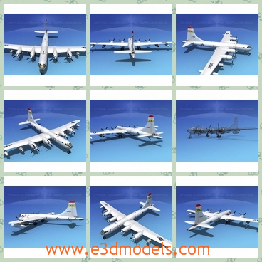 3d model of dreamscape KB 50 Superfortress - This model 3d model is about a white military aircraft which has animateable flaps, ailerons, a landing gear, landing gear doors, elevators, a rudder, bomb bay doors, turret guns and propellers,