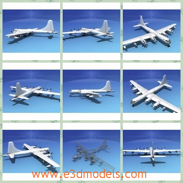 3d model of dreamscape KB50 superfortress - This 3d model is about a dreamscape KB 50 superfortress which has a large tail and external fuel tanks on the wings.It is totally white.