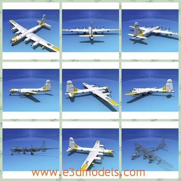3d model of dreamscape WB-50 superfortress II hurr - This 3d model is about a dreamscape WB-50 superfortress II hurricane hunter which is a long white military aircraft. It has two narrow and long wings and a big tail.