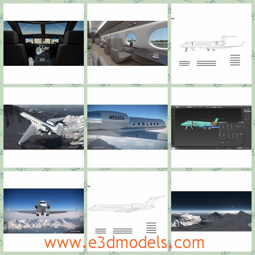 3d model of Gulfstream G550 - This is a 3d model of a Gulfstream G550 jet which is rigged in both 3D Studio Max and Cinema 4D. This jet is white and has a large inside space.