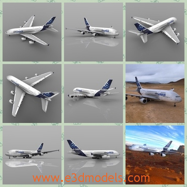 3d model the airbus - This is a 3d model about the airbus,which is the commercial type and is  a double-deck, wide-body, four-engine jet airliner. It is the world's largest passenger airliner.