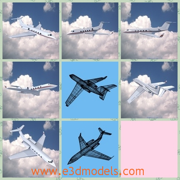 3d model the airplane used in business - This is a 3d model of the airplane used in business,which is flying in the sky.The model is private and luxury.
