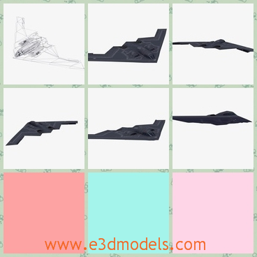 3d model the bomber - This is a 3d model of the bomber in black,which is not obvious to be discovered.The shape is like a kite in the sky.