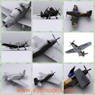 """3d model the bomber used in Vietnam - This is a 3d model of the bomber,which is used in the Vietnam War several years ago.The aircraft became a piston-powered, propeller-driven anachronism in the jet age, and was nicknamed &quotSpad""""."""