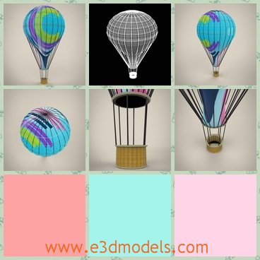3d model the hot air ballon in round shape - This is a 3d model of a hot air ballon,which is round and the colors are charming and beautiful.