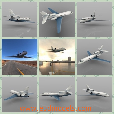 3d model the jet in white - This is a 3d model of the jet in white,which is spacious and internal arrangement is tidy and clean.