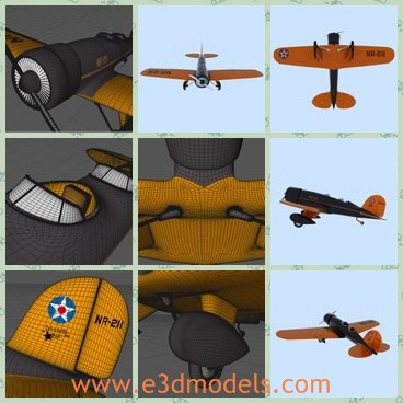 3d model the orange plane - This is a 3d model of the orange plane,which is small and made with good quality.The plane is made with two seats.
