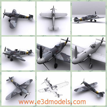 3d model the plane in Russia - THis is a 3d model of the plane in Russia.The Messerschmitt Bf 109, often called Me 109, was a German WWII fighter aircraft designed during the early to mid-1930s.