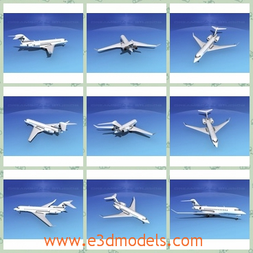 3d model the plane in white - This is a 3d model of the plane in white,which is large and used in the global express.As the world