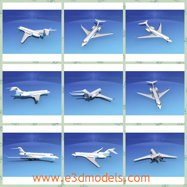 3d model the plane in white - THis is a 3d model of the plane in white,which is the business type.The plane can fly farther than any other business jet, will feature a three-zone cabin and it will be powered by the next-generation.