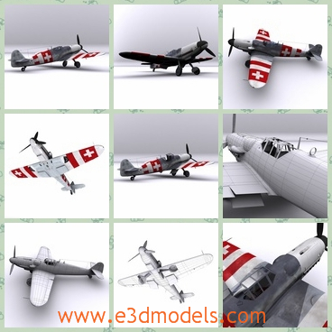 3d model the plane made in 1945 - This is a 3d model of the plane,which is often called Mf- 109, was a German WWII fighter aircraft designed during the early to mid-1930s. It was one of the first truly modern fighters of the era.