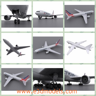 3d model the plane of USA - This is a 3d model of the plane of USA,which can be judged from the flag on the tail of the plane.The plane includes fuselage, wings & elevators, engines, turbines, gears down, gears up and windows.