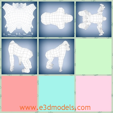 3d model of a gorilla - This 3d model is about a big gorilla which looks very much like a man. It has big feet and claws.