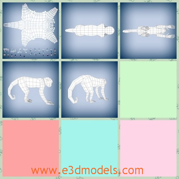 3d model of a monkey base mesh - Here is a 3d model about a monkey  base mesh. This monkey has a long tail and a thin belly and four long legs.