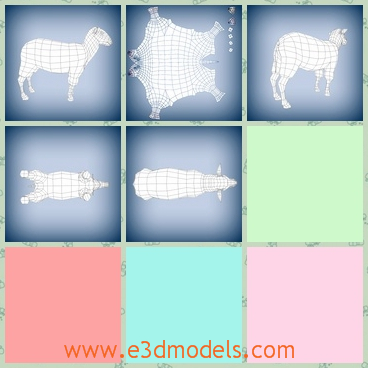 3d model of sheep base mesh - These are 3d models about sheep base mesh with very few triangles.This is a fat sheep with short horns.