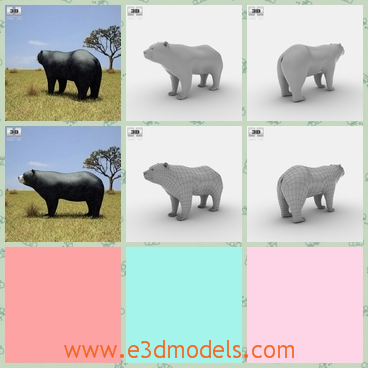 3d model the bear in the plain - This is a 3d model of the bear in the plain,which is large and dangerous to get near him.The bear is common in the forest.