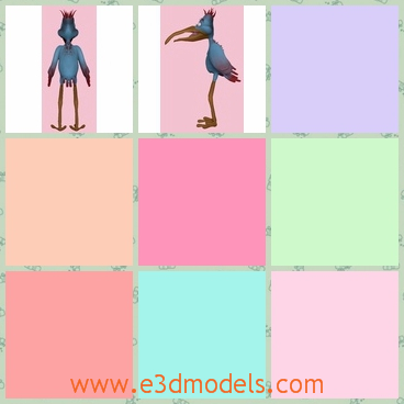 3d model the birl with long legs - This is a 3d model of the cartoon bird with long legs,which is special and uncommon.The model is standing on the ground.