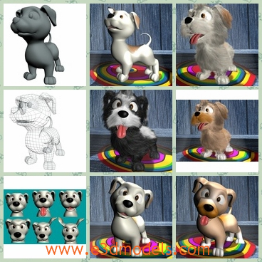 3d model the cartoon dogs in different shapes - This is a 3d model of the cartoon dogs in different shapes,which are standing on the carpets.The model is cute and small.