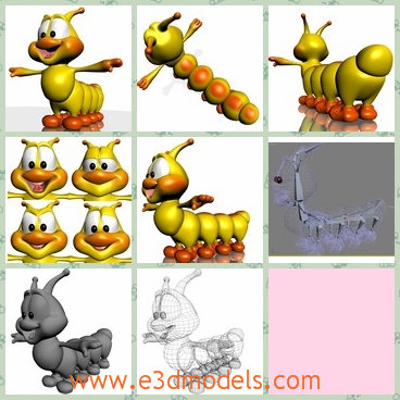 3d model the caterpillar in yellow - This is a 3d model of the caterpillar in yellow,which is rigged and finely skined. A second scene comes with a presentation exactly similar of main image, with background, light camera and all objects that you can see to the picture background.