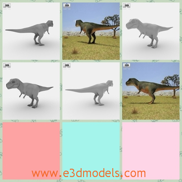 3d model the dinosaur on the plain - This is a 3d model of the dinosaur on the plain,which has four feet,including two short ones and two long ones.The model has a long tail.