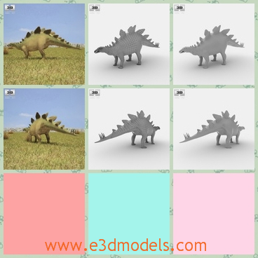 3d model the dinosaur with a fan back - This is a 3d model of the dinosaur with a back looking like a fan.The type is strong and the it is the most dangerous kind of dinosaurs.