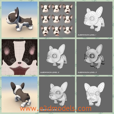 3d model the puppy with morphs - This is a 3d model of the a French Bulldog puppy with morphs in Maya.The base mesh can be subdivided. The puppy is textured with hand painted maps.