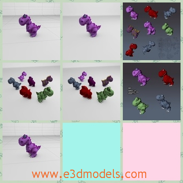 3d models of colorful dino toys - These are 3d models about many toys which are cartoon dinosaurs. There are red, purple and green dinosaur toys.