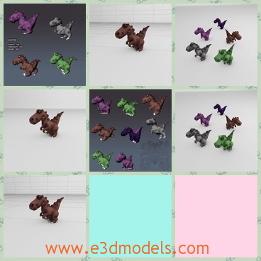 3d models of raptor toys - Here are some 3d models about some toys. These toys are cartoon raptors which have a heavy body and a long tail.
