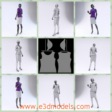 3d model the dummy of the showroom - This is a 3d model of the dummy of the showroom,which is tall and slender.The clothing is a fashion in the office.