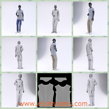 3d model the male character in T-shirt - This is a 3d model of the male character in T-shirt,which slanting his leg to one direction.The model is a black male.