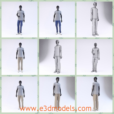 3d model the male in white - This is a 3d model of the male in white,which is the mannequin in the showroom and it is a set of the high quality models to add more details and realism to your projects.