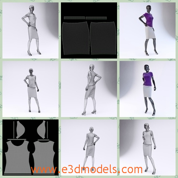 3d model the woman in a skirt - This is a 3d model of the women in a skirt,which is the dummy of the showroom and the clothing is modern.