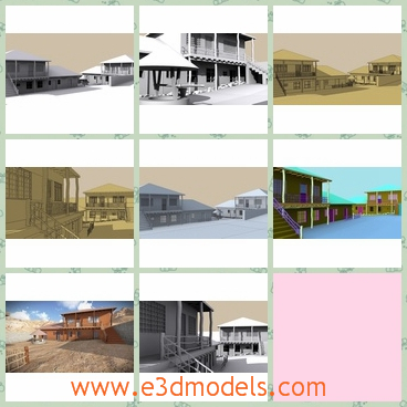 3d model a brick house in unique style - This is a 3d model about a brick house that designed in unique style with different colors on the outside.The model is fit the village style.