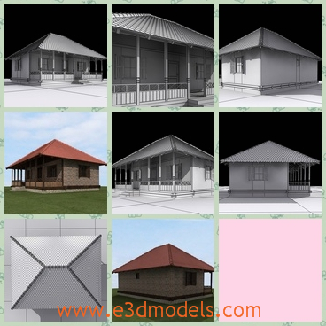 3d model a building with pillars - This is a 3d model of a building with pillars,which is made in the village.The style and the design is not so outdated.