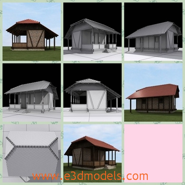 3d model a house with a special roof - This is a 3d model of a house with a special roof,which is vertical and titled.It is built in bricks and tiles.