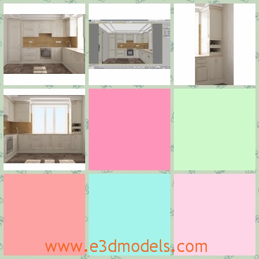 3d model a kitchen and the arrangements - This is a 3d model of a kitchen,which shows the interior arrangements.The kithchen is colored in white and most of it is made in wooden.