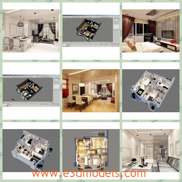 3d model a modern apartment - This is a 3d model of the modern apartment,which is large and spacious.The house has modern style and design and is very charming.
