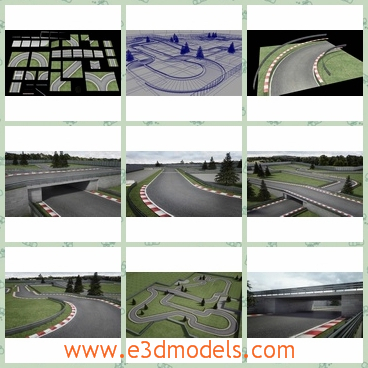 3d model a race track for motors - This is a 3d model of a race track for motors,and each track piece is 20m square and fully tileable, allowing them to be used in any combination.