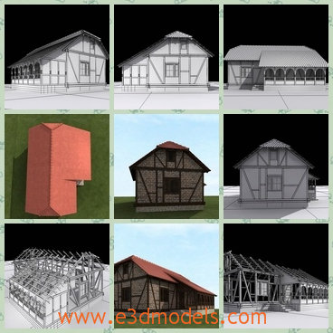3d model a village house with a tilted roof - This is a 3d model of a village house,which has a tilted roof with it.The house is made of timber and bricks.