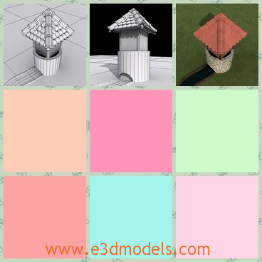 3d model a well with a cover - This is a 3d model about a well with a cover on it,which is made of a bricks and other materials.